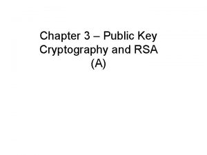 Chapter 3 Public Key Cryptography and RSA A
