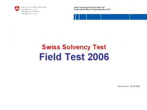 Swiss Federal Department of Finance FDF Swiss Federal
