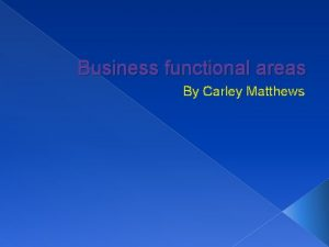 Business functional areas By Carley Matthews Business functional