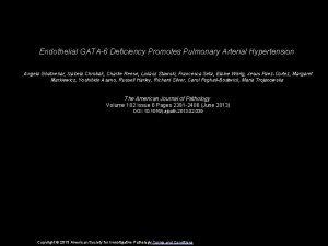Endothelial GATA6 Deficiency Promotes Pulmonary Arterial Hypertension Angela