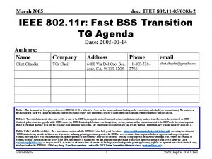 March 2005 doc IEEE 802 11 050203 r