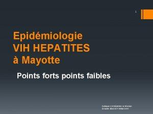 1 Epidmiologie VIH HEPATITES Mayotte Points forts points