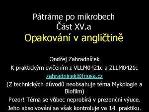 Ptrme po mikrobech st XV a Opakovn v