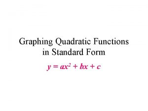 Graphing Quadratic Functions in Standard Form y ax
