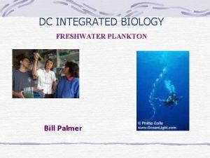 DC INTEGRATED BIOLOGY FRESHWATER PLANKTON Bill Palmer FRESHWATER