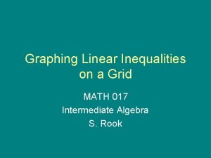 Graphing Linear Inequalities on a Grid MATH 017