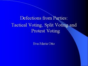 Defections from Parties Tactical Voting Split Voting and