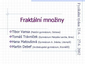 Tibor Vansa Matin gymnzium Ostrava Tom Trvnek Gymnzium