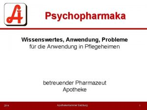 Psychopharmaka Wissenswertes Anwendung Probleme fr die Anwendung in