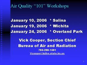 Air Quality 101 Workshops January 10 2006 January