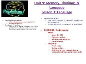 Unit 9 Memory Thinking Language Lesson 3 Language