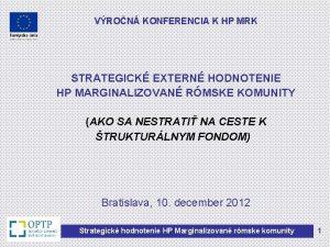 VRON KONFERENCIA K HP MRK STRATEGICK EXTERN HODNOTENIE