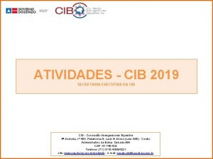 ATIVIDADES CIB 2019 SECRETARIA EXECUTIVA DA CIB Comisso