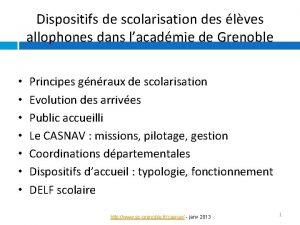 Dispositifs de scolarisation des lves allophones dans lacadmie