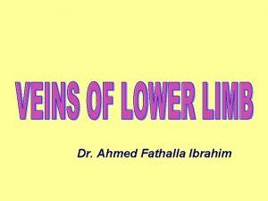 Dr Ahmed Fathalla Ibrahim VEINS OF LOWER LIMB