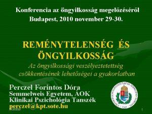 Konferencia az ngyilkossg megelzsrl Budapest 2010 november 29
