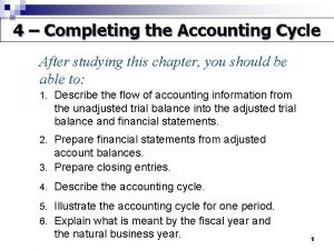 4 Completing the Accounting Cycle After studying this