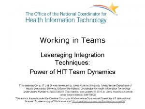 Working in Teams Leveraging Integration Techniques Power of