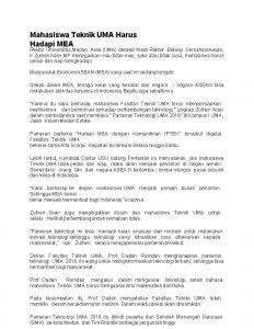 Mahasiswa Teknik UMA Harus Hadapi MEA Rektor Universitas