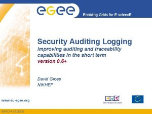 Enabling Grids for Escienc E Security Auditing Logging
