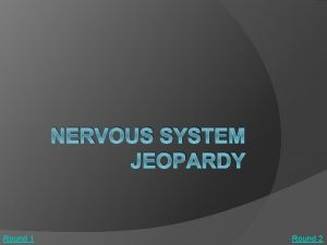 NERVOUS SYSTEM JEOPARDY Round 1 Round 2 Sources