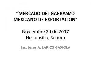 MERCADO DEL GARBANZO MEXICANO DE EXPORTACION Noviembre 24