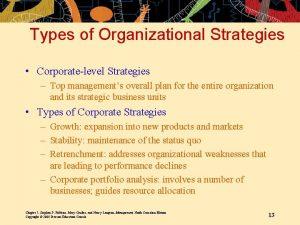 Types of Organizational Strategies Corporatelevel Strategies Top managements
