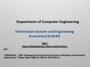 Department of Computer Engineering Information System and Engineering