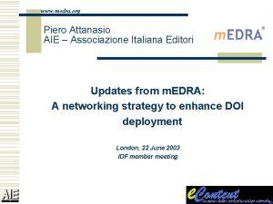 www medra org Piero Attanasio AIE Associazione Italiana