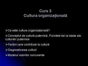 Curs 3 Cultura organizaional Ce este cultura organizaional