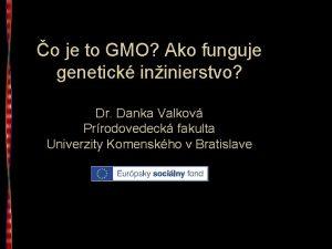 o je to GMO Ako funguje genetick ininierstvo