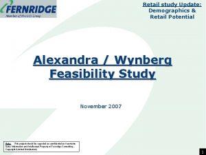 Retail study Update Demographics Retail Potential Alexandra Wynberg