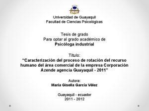 Universidad de Guayaquil Facultad de Ciencias Psicolgicas Tesis