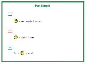Past Simple Verb regularirregular didnt verb Did verb