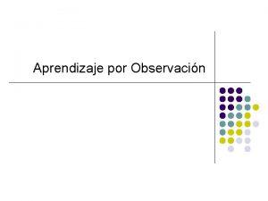 Aprendizaje por Observacin Teoras de la Imitacin l