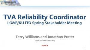 TVA Reliability Coordinator LGEKU ITO Spring Stakeholder Meeting
