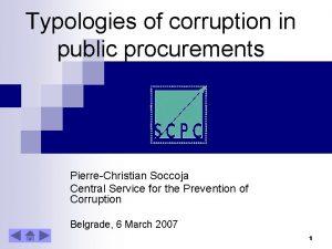 Typologies of corruption in public procurements PierreChristian Soccoja