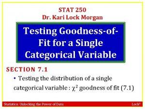STAT 250 Dr Kari Lock Morgan Testing Goodnessof