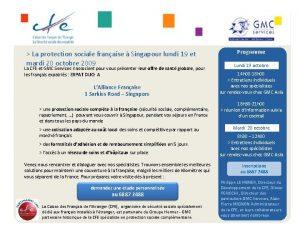 La protection sociale franaise Singapour lundi 19 et