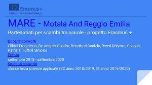 MARE Motala And Reggio Emilia Partenariati per scambi