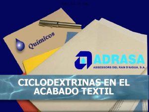 ADRA S A Dr Cun CICLODEXTRINAS EN EL