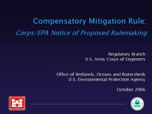 Compensatory Mitigation Rule CorpsEPA Notice of Proposed Rulemaking