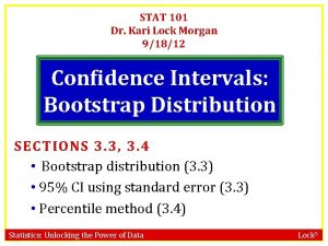 STAT 101 Dr Kari Lock Morgan 91812 Confidence