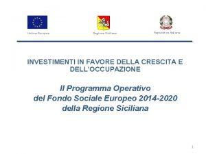 Unione Europea Regione Siciliana Repubblica Italiana INVESTIMENTI IN