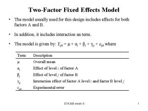 TwoFactor Fixed Effects Model The model usually used