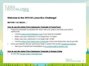 Welcome to the 2019 20 Lexus Eco Challenge