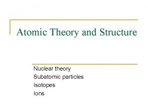 Atomic Theory and Structure Nuclear theory Subatomic particles