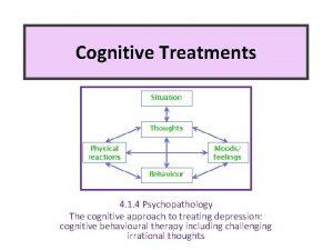 Cognitive Treatments 4 1 4 Psychopathology The cognitive