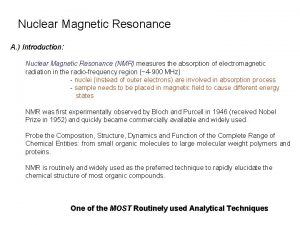Nuclear Magnetic Resonance A Introduction Nuclear Magnetic Resonance