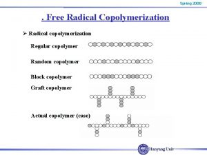 Spring 2008 Free Radical Copolymerization Radical copolymerization Regular